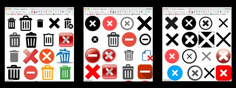 Delete, Remove, Close icons